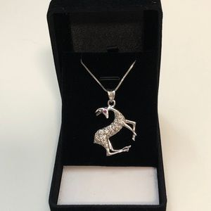 Reindeer 925 Sterling Silver Necklace BNIB